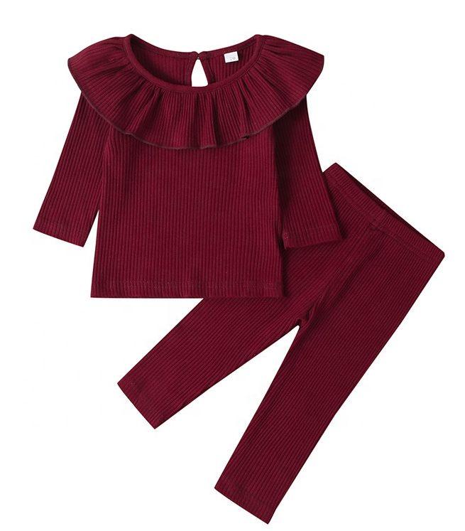 Rib fabric newborn baby girl clothes 2