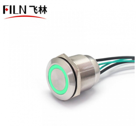 FILN Corded Push Button Switch 22MM 10A 110V Blue LED Stainless Steel