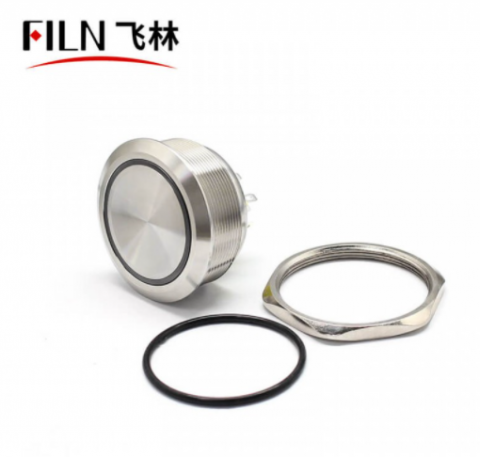 40MM Big Push Button Switch 8PIN IP67 Metal Ring Switch With Light