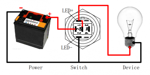 What is the push button switch with LED
